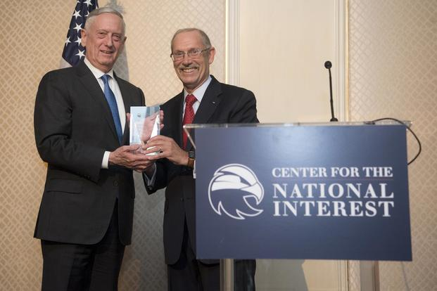 U.S. Secretary of Defense James N. Mattis accepts award from the Center for the National Interest on July 25, 2018 in Washington, D.C. (DoD Photo by Tech Sgt. Vernon Young Jr.)