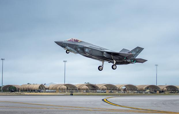 A 33rd Fighter Wing F-35A Lightning II takes off Feb. 27 to conduct sorties at Eglin Air Force Base, Fla. over Eglin's 724 square miles of land ranges and 120,000 miles of over water airspace. The F-35 is the world's most advanced multi-role fighter providing unmatched capabilities to military forces around the world. (Kristin Stewart/U.S. Air Force)