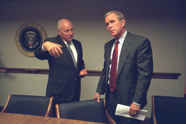 President George W. Bush and Vice President Dick Cheney meet in the President's Emergency Operations Center during the Sept. 11, 2001, terrorist attacks. (National Archives)