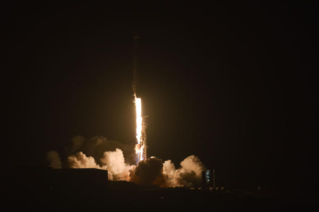 A SpaceX Falcon 9 rocket carrying the SAOCOM 1A satellite launched from Vandenberg Air Force Base at 7:21 p.m. PDT, Oct. 7, 2018. This was SpaceX's first land landing attempt at Vandenberg Air Force Base. (U.S. Air Force photo/Michael Peterson)