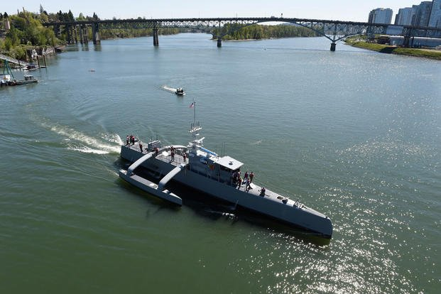 Sea Hunter, an entirely new class of unmanned ocean-going vessel gets underway on the Williammette River following a christening ceremony in Portland, Ore., Apr. 7, 2016. (U.S. Navy photo/John F. Williams)