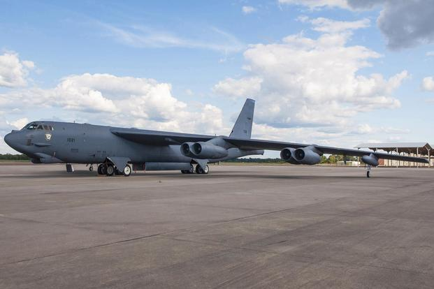 a b 52h stratofortress assigned to the air force reserve commands 307th bomb wing is
