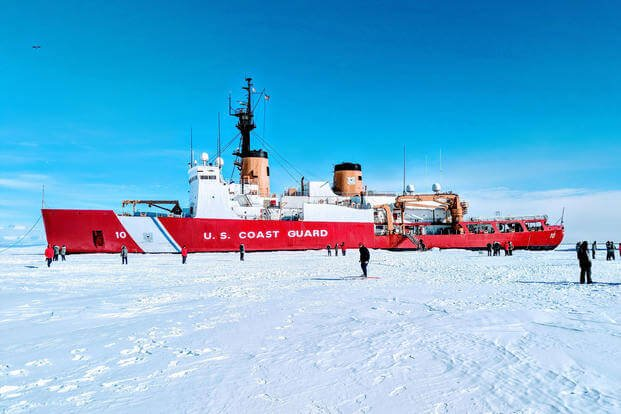 Members of the Coast Guard Cutter Polar Star participate in various activities on the ice about 13 miles from McMurdo Station, Antarctica, Jan. 26, 2018. (U.S. Coast Guard photo/John Pelzel)