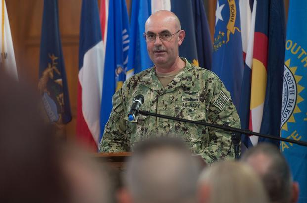 Task Force Guantanamo conducted a change of command ceremony welcoming incoming commander Rear Adm. John C. Ring and bidding farewell to outgoing commander, Rear Adm. Edward B. Cashman here, Tuesday, April 17, 2018. He was relieved of command April 27, 2019 due to loss of confidence in his ability to command. (Jerry Saslav/U.S. Army)
