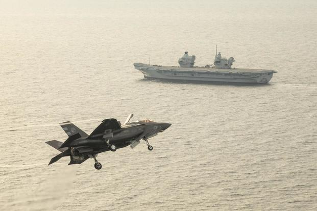 Two F-35B Lightning II aircraft from the F-35 Integrated Test Force (ITF) successfully landed onboard HMS Queen Elizabeth on November 1, 2018. (U.S. Navy/Liz Wolter)