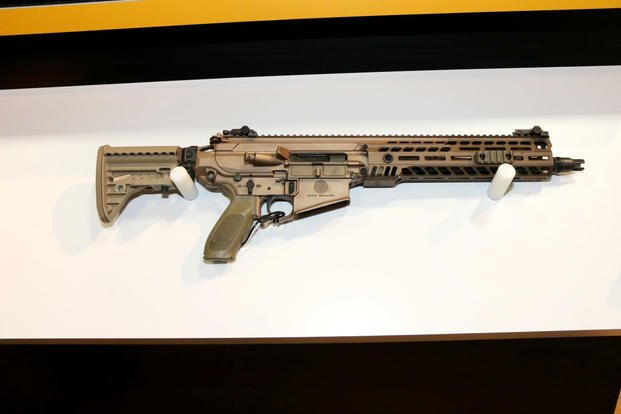 Sig Sauer rifle prototype for the Army's Next Generation Squad Weapon effort on display at the 2019 Association of the United States Army's annual meeting. (Matthew Cox/Military.com)