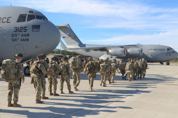 Army paratroopers deploy from Pope Army Airfield