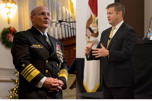 The secretary of the Army, Ryan McCarthy (right), disagreed with statements by the chief of naval operations, Adm. Mike Gilday (left), that the Navy should get a bigger piece of the Pentagon's defense budget. (Photos: U.S. Navy/U.S. Army)