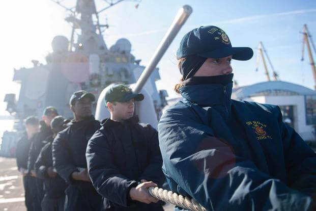Sailors aboard the Arleigh Burke-class guided-missile destroyer USS Ross.