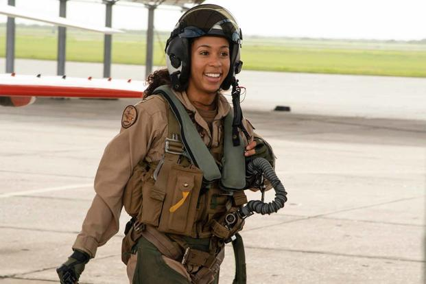 Lt. j.g. Madeline Swegle is the first known Black woman to have been certified for the TACAIR mission.