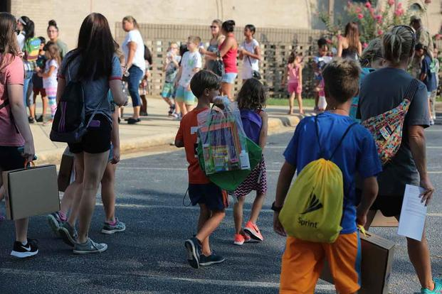 Children attend back-to-school events.