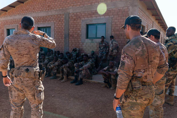 U.S. service members provide training to East African forces in Somalia on Jan. 30, 2021.