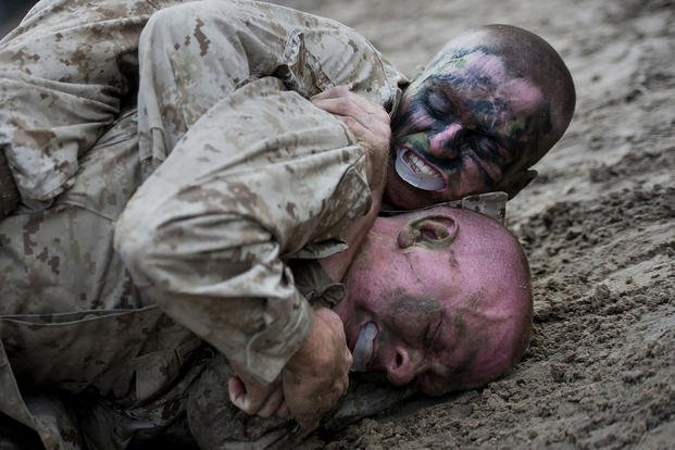 Marine recruits take part in The Crucible