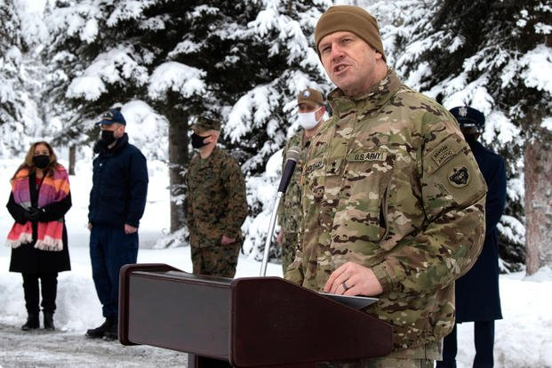 U.S. Army Maj. Gen. Peter B. Andrysiak, U.S. Army Alaska commander, speaks