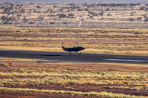 Test flight of the Boeing-built drone-jet hybrid for Loyal Wingman program. (Courtesy of Boeing)