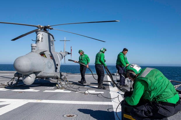 MQ-8B Fire Scout unmanned aerial vehicle aboard USS Charleston