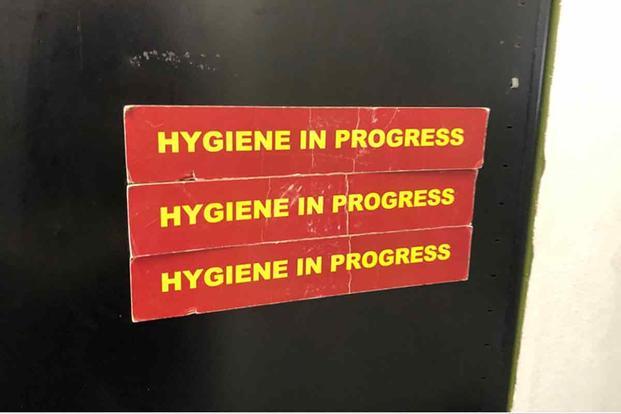 """Hygiene in Progress"" signs Marine Corps Recruit Depot San Diego, California."
