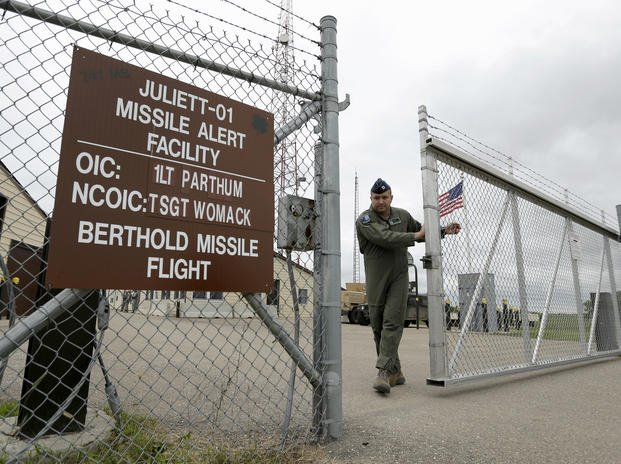 A gate is closed at an ICBM facility in the countryside outside Minot, N.D.