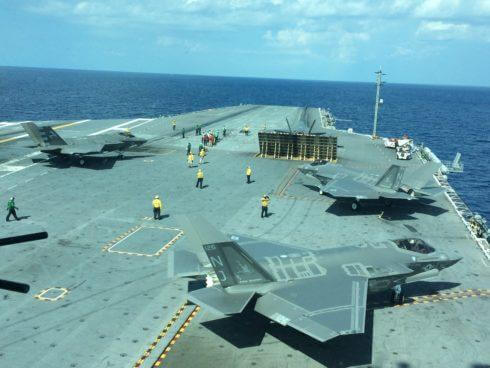 Five F-35Cs wait to take off from the flight deck of the USS George Washington. In all, 7 F-35Cs conducted qualification exercises aboard the carrier Aug. 15.