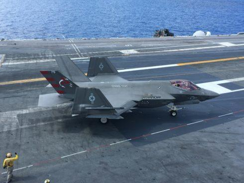 An F-35C from Air Test and Evaluation Squadron-23 on the flight deck of the USS George Washington between landing and take-off evolutions. Photo by Hope Hodge Seck