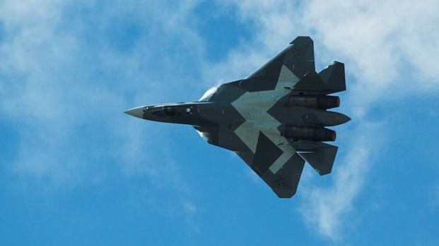 Russia's T-50 fighter conducts an aerial demonstration.