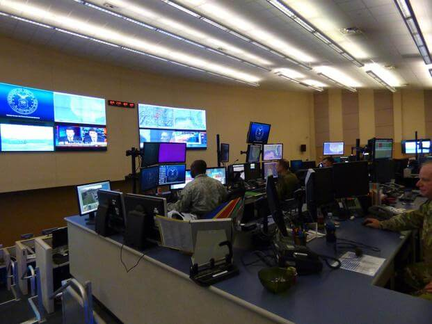 Airmen work inside the 601st Air Operations Center at Tyndall Air Force Base in 2017. The center was relocated in the wake of Hurricane Michael. Credit Oriana Pawlyk