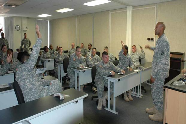 Army students in classroom