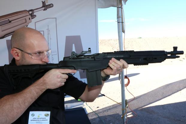 Springfield Armory showed off its new SOCOM 16 CQB rifle out for range day on Jan. 18, 2016, at SHOT Show in Las Vegas. (Photo by Matthew Cox/Military.com)