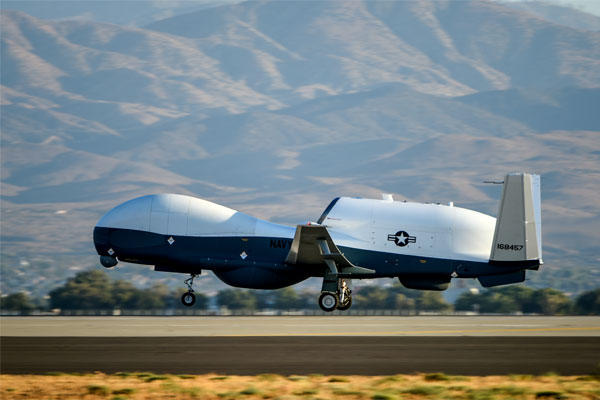 The Navy's MQ-4C Triton drone can fly more than 24 hours at a time and survey 2.7 million square miles in a single mission. (Photo courtesy of Northrop Grumman)