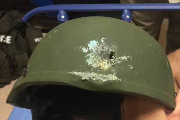 Orlando police credited this kevlar helmet with saving the life of an officer who responded to the deadliest mass shooting in U.S. history. (Photo courtesy Orlando Police Department.)