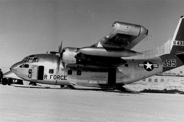 This C-123J transport aircraft was photographed at Thule Air Base, Greenland in 1958, a time when the U.S. was preparing to build a secret camp underneath the ice. (US Air Force photo)