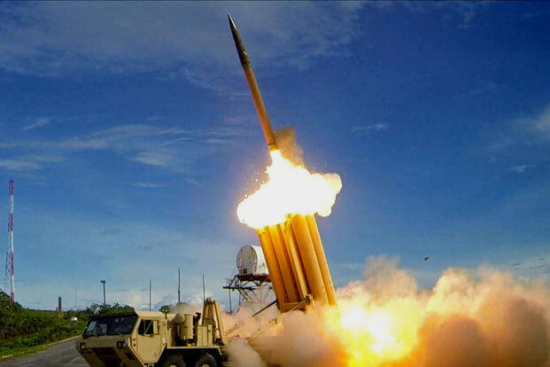 A Terminal High Altitude Area Defense (THAAD) interceptor being fired during an exercise in 2013. (DoD photo)