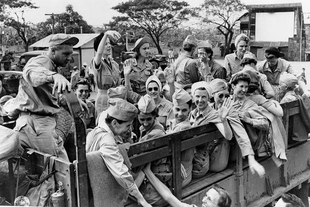 US Army nurses liberated from Santo Tomas Internment Camp in 1945. (U.S. Army photo)