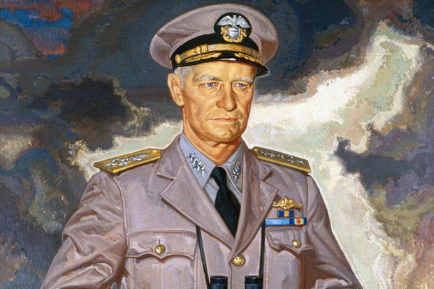 Admiral Chester Nimitz, oil painting, National Portrait Gallery