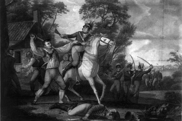 Engraving depicting Continental Army soldier Peter Francisco in a fight with men from the cavalry of Banastre Tarleton in Amelia (now Nottoway) County, Virginia, July 1781. (Image: Library of Congress)
