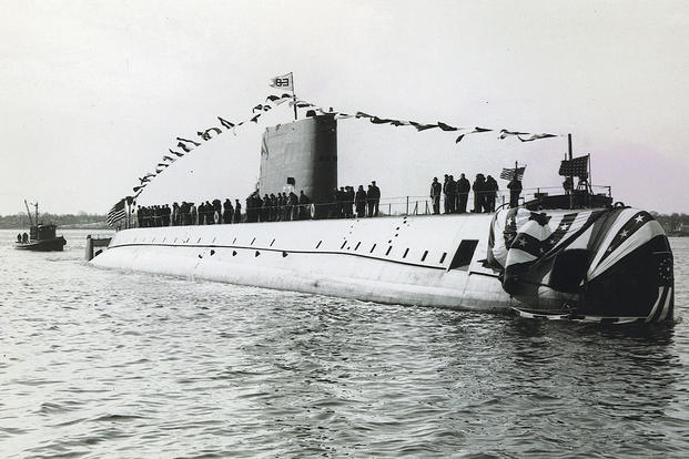 The christening ceremony for the USS Nautilus (SSN 571), Jan. 21, 1954. The Nautilus was the U.S. Navy's first nuclear-powered submarine. (Photo: U.S. Navy)