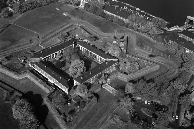 Aerial view of Fort Jay, Governors Island, Fort Columbus, Building No. 214, New York Harbor, New York, New York County, NY, October 1982 or September 1983 (Photo: Library of Congress)