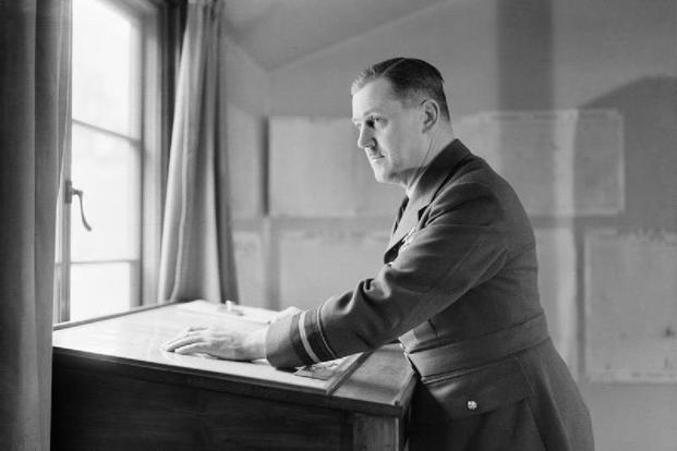 Air Vice-Marshal Trafford Leigh-Mallory, Air Officer Commanding No 11 (Fighter) Group, at Group Headquarters, Uxbridge, Middlesex. 27 March 1942.