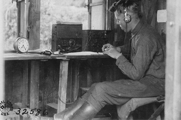 A soldier mans Field Intercept Station Number 1 at Souily, 18 June 1918. Field intercept (or radio intercept) stations collected coded messages transmitted by radio stations of German ground units. (Photo: National Archives)