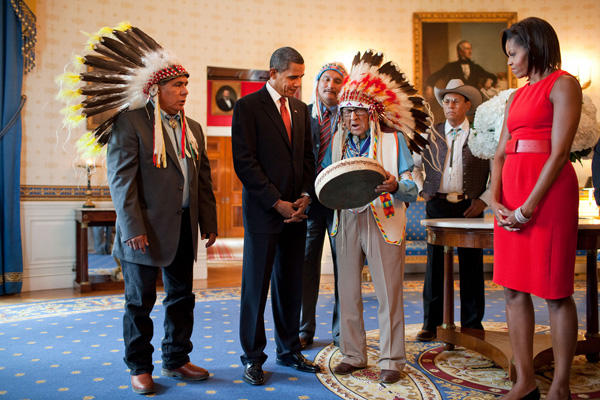 Joe Medicine Crow with Obama.