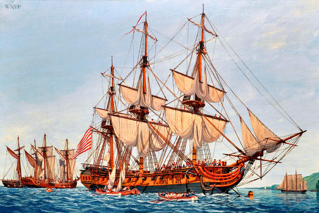 Continental Navy frigate Confederacy. Painting by William Nowland Van Powell. (U.S. Navy)