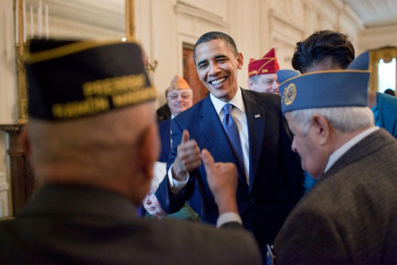 Veteran's day Obama thumbs up.