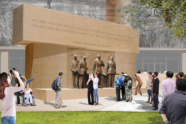 "A veterans group is criticizing the proposed memorial to Dwight Eisenhower as an ""ugly, confusing and grandiose design."""