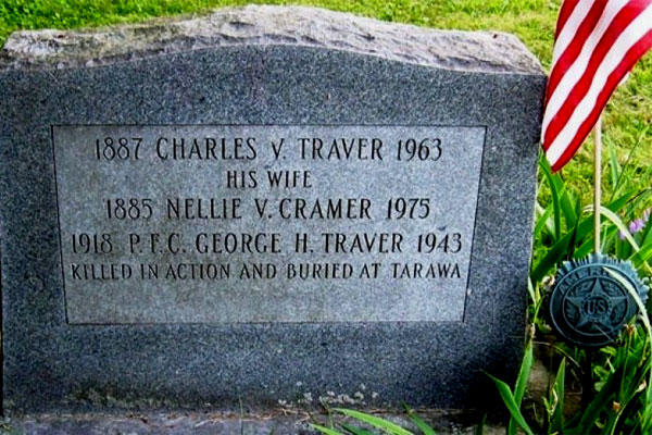Headstone in Chatham Rural Cemetery, N.Y., for U.S. Marine George Traver and his parents. (Photo courtesy of Thomas Van Tassel)