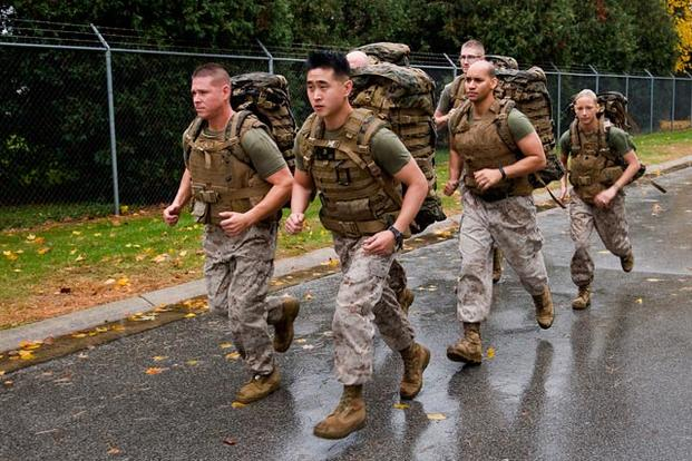 Marines on a 5k ruck march.