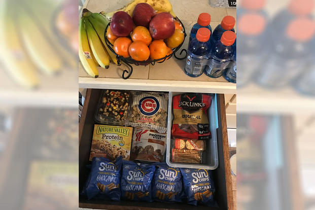 snack drawer with healthy snack items