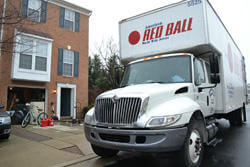 Red Ball moving truck