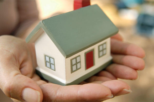 miniature home in hands