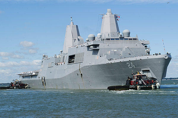 Official U.S. Navy file photo of amphibious transport dock USS Arlington (LPD 24).