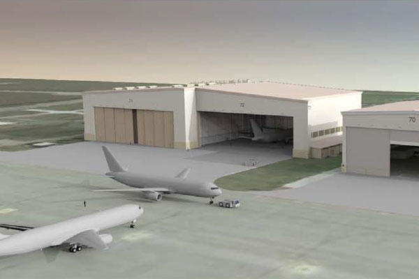 Several projects will break ground at McConnell Air Force Base, Kan., in the upcoming weeks, including construction of one- and two-bay hangars like those depicted in this rendering.